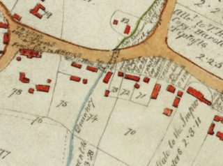 1799 Inclosure map showing original buildings on Royston Rd | Cambridge Archives
