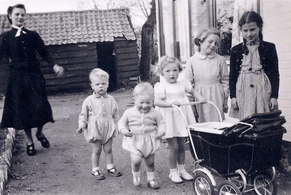 May 6, 1950, Vicky Jones, helper, to left at Beechcroft school when Janet (2nd from right) boarded occasionally