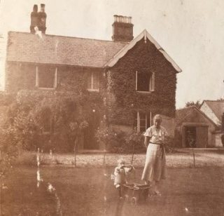 Celia Kendon 1936-7 in front of Beechcroft with 1-2 yr old neice Janet Piper   (Janet Tivy)