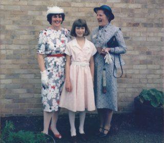 Mrs Pluck & Mrs Askham & Helen presenting Save Children cheque 1985 | (Deacon)