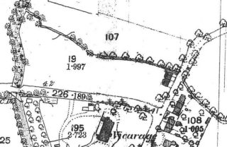 1885 OS map Haslingfield Rd showing 2 cottages fronting Button End