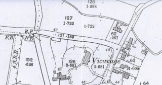 1901 OS map showing 2 cottages now fronting Haslingfield Rd