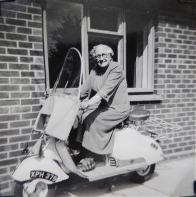 Ada Wilson on Pallant scooter, Hauxton