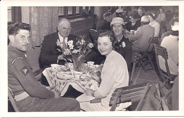 Dorothy nee Wilson & husband Charles Simpkins at back of table & nephew Patrick Wilson & girlfriend