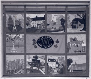 WI wall hanging in Village Hall completed 1983 | WI book