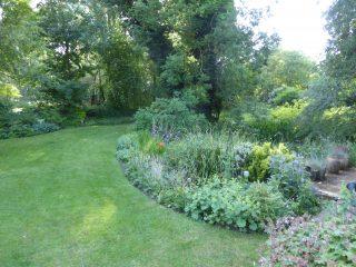 Kenterl back garden borders around natural pond 2018