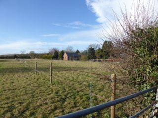 Garage behind Parkfield looking across old allotment field, now horse pastures 2019   (Roadley)