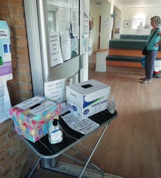 Santitiser and distancing as you enter Harston surgery during Covid19 May 2020 | (Roadley)
