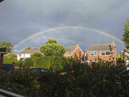 Rainbow over Harston 23 May 2020
