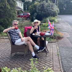 Celebrating with a cup of afternoon tea with our neighbours (Heaths) | (Margaret Curran)
