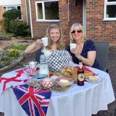 Suzie & Margaret Curran enjoying a VE day afternoon tea | (Margaret Curran)