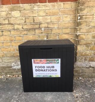 Food hub donations box in front of Baptist Church June 2020 | (K Holloway)