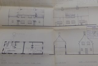 Plans for 2 pairs of houses (12 - 18) Button End for CRDC 1936   (CRO)