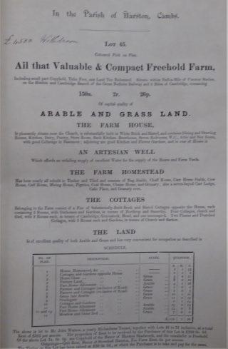 Sale details of De Freville including old Beech Farm Cottages 1886   (CRO)