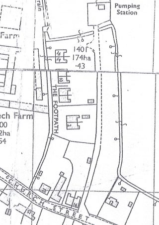 1971 OS map showing 4 pairs of The Footpath council houses | (Cambridge collection)