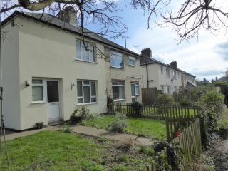 Mar 2017 The Footpath semis front gardens from field end of footpath | (Roadley)