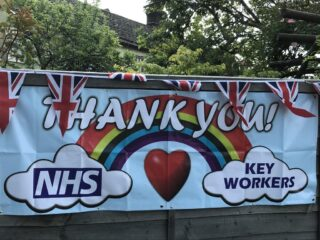 Union Jacks combine with NHS banners | (J Richardson)