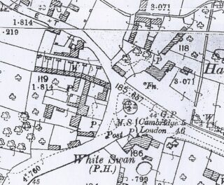 1901 OS map of Hurrell's Row of labourers' cottages