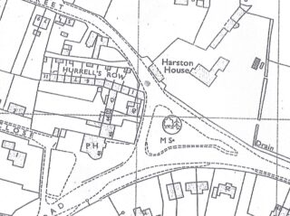 1971 OS map of Hurrell's Row showing later numbering