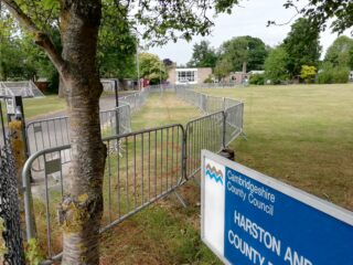 One way & social distancing entering school June 2020 | (Roadley)