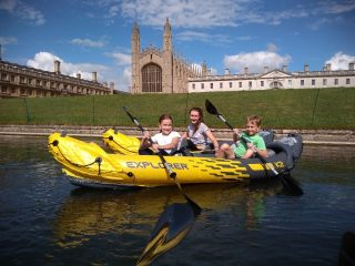 Kayaking along The Backs in front of King's College | (G Warren)