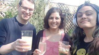 Alastair, Paru & Lucy Oatey enjoying time in the garden | (Oatey)