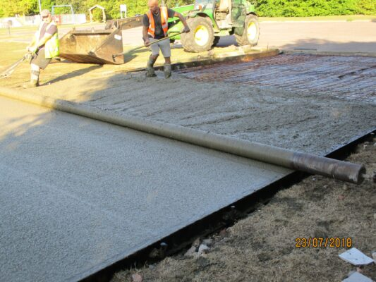 Laying concrete base of scout hut Jul 2018