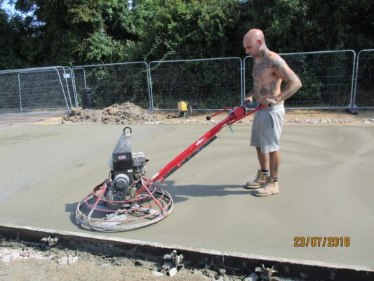 Finishing off concrete base for scout hut Jul 2018